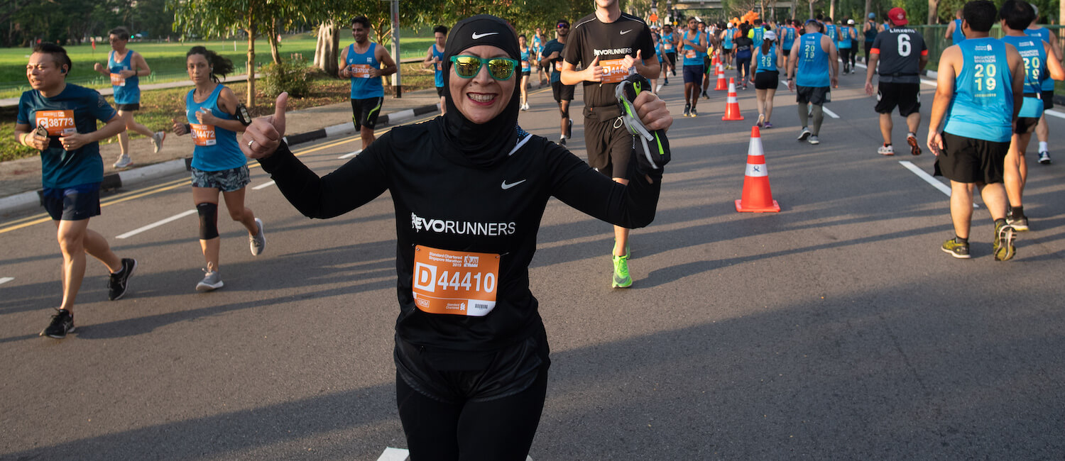 Muslim runner during a marathon