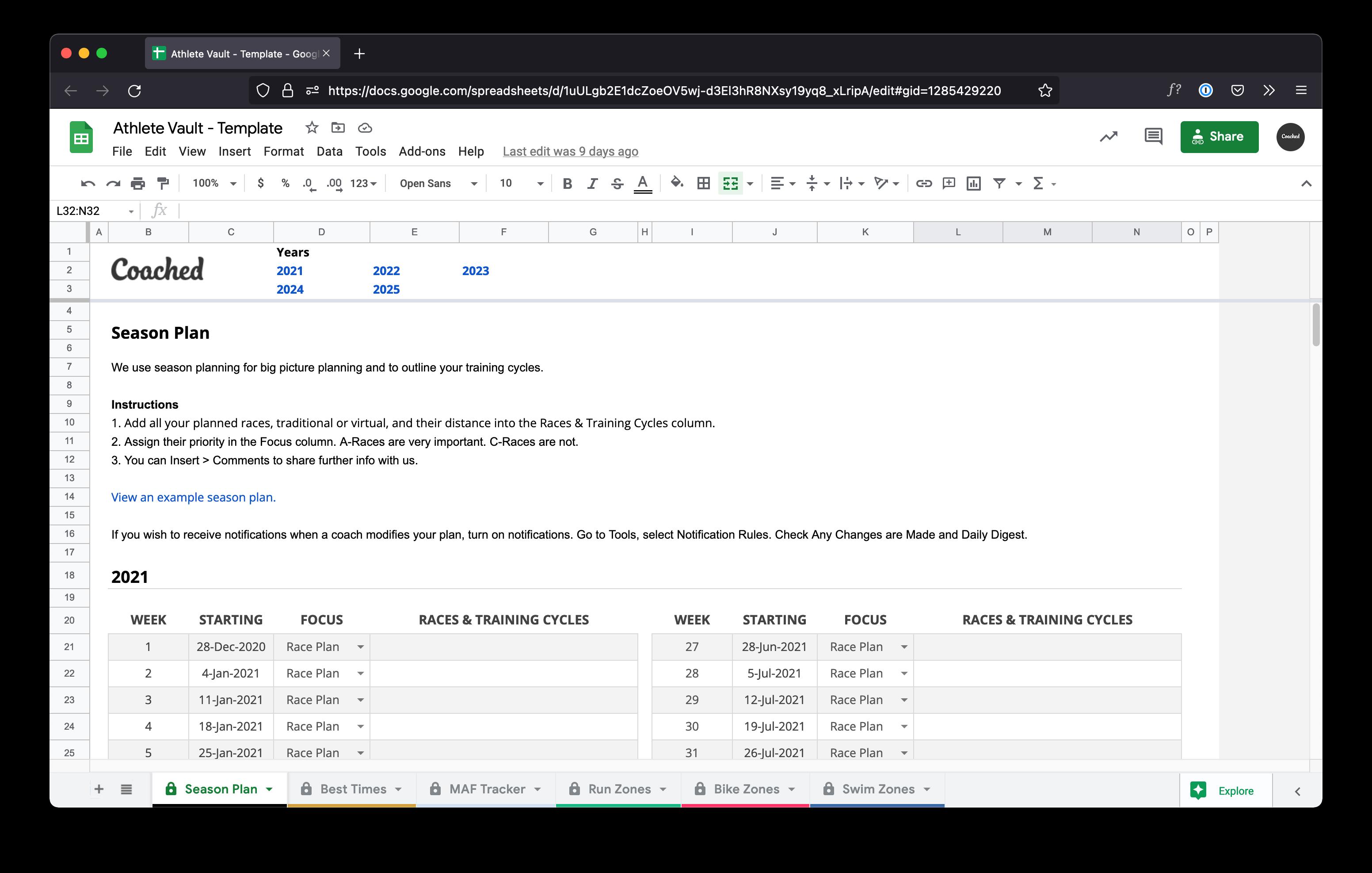 Computer screen displaying a season plan template in a Google spreadsheet